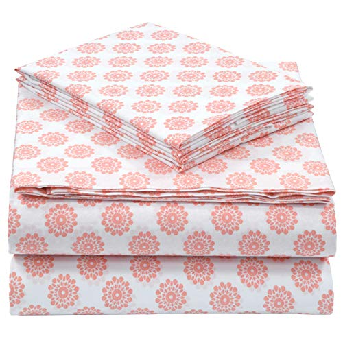 Pieridae Cotton Rich 4 Pc Sheet Set - Queen, Coral Global Dots