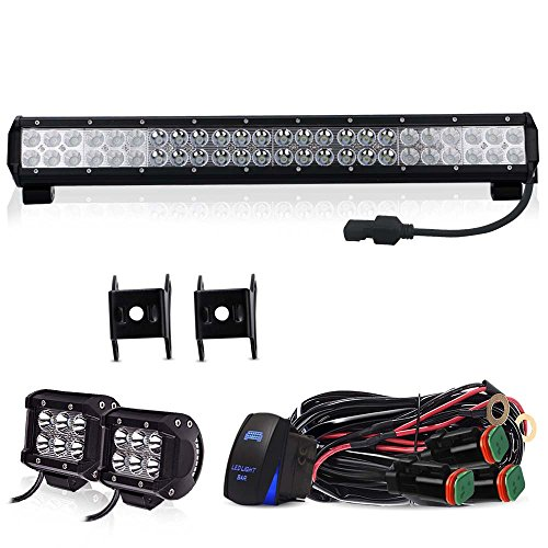 1981 Toyota Pickup Bumper (TURBO SII 23 inch Led Work Light Bar 144w Spot Flood Combo Beam Off road Light with 4Inch Led Work Light&3 lead Wirng Harness Kit For Jeep Tractor Boat SUV ATV Truck 4x4 Jeep Front Bumper Grill Mount)