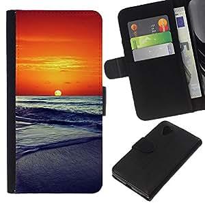 KLONGSHOP // Tirón de la caja Cartera de cuero con ranuras para tarjetas - Sunset Beautiful Nature 86 - LG Nexus 5 D820 D821 //