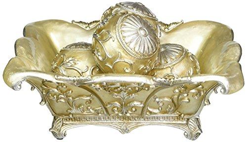 Bowl Fruit Ivory (OK Lighting Decorative Fruit Bowl with Balls, 7.5