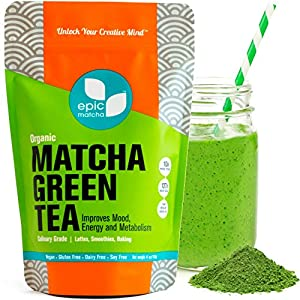 Matcha Green Tea Powder - Best for Smoothies, Lattes, Drinks, Baking, Cooking, Desserts - Energy Booster, Calorie Burner, Fat Metabolizer, Skin Therapy. 100% Pure USDA Organic Culinary Grade - 4oz