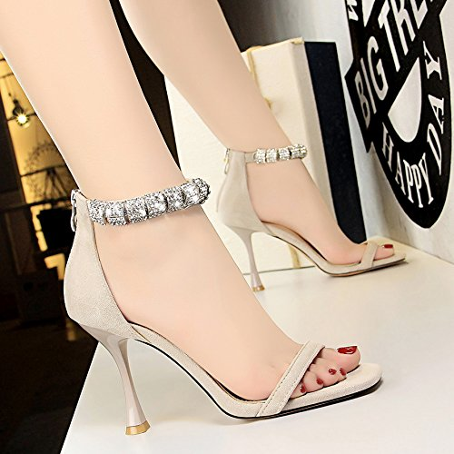 Xue Qiqi Tribunal Zapatos Sandalias Zapatos de Baile Banquete con Gafas de Alta Heel Shoes metálica Cuadrada de Rocío Correa ranurada Sandalias Marea Gris