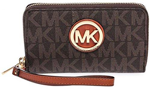MICHAEL Michael Kors Women's Fulton Large Smartphone Wristlet, Signature Logo Brown (Logo Wristlet)