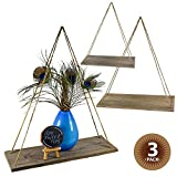 17'' Reclaimed Wood Hanging Swing Rope Floating Shelves, Set of 3