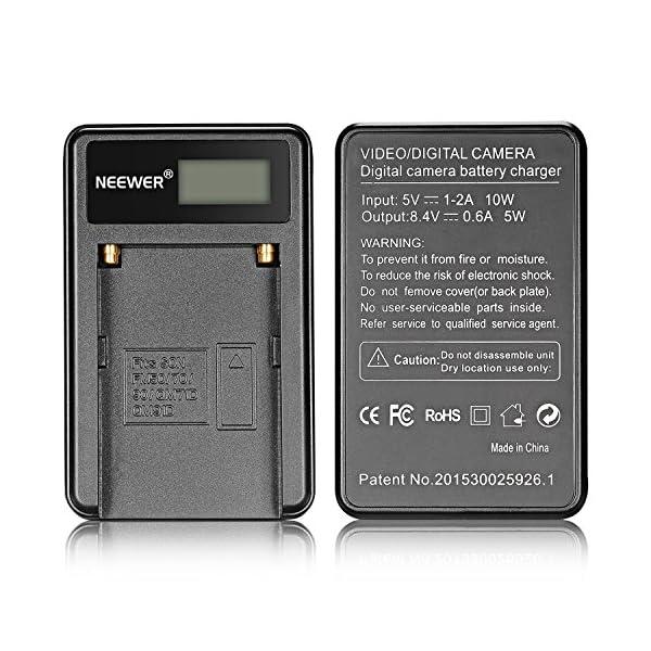 Neewer 90086570, Caricabatterie con Connettore Micro USB e Confezione da 2 Batterie di Ricambio 2600mAh NP-F550/570/530 per Sony Handycam, Neewer Nanguang CN-160, CN-216, CN-126 Luci LED, Luci On-fotocamera Polaroid 6 spesavip