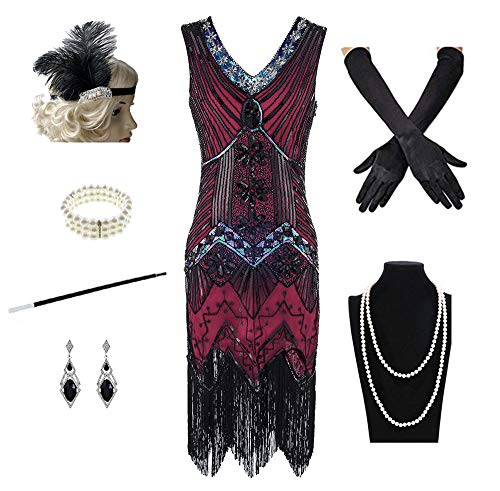 1920s Women's Gatsby Costume Flapper Dresses V Neck Fringed Dress with 20s Accessories Set of ()