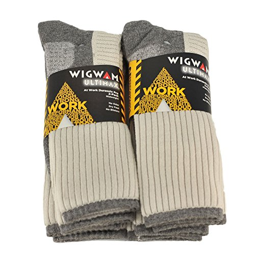 Wigwam Ultimax Unisex Work Durasole Pro 2-Pack Midweight Socks Bundle White/G... (Wigwam Everyday Fusion)