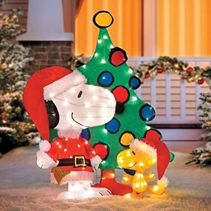 42 peanuts snoopy woodstock 3 piece pre lit lighted tinsel - Lighted Snoopy Mailbox Outdoor Christmas Decoration