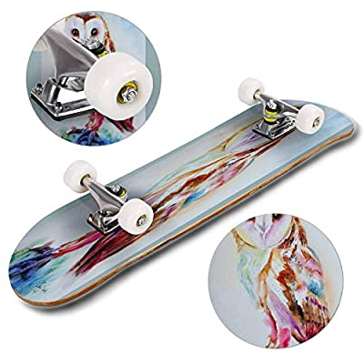 Classic Concave Skateboard Barn Owl Longboard Maple Deck Extreme Sports and Outdoors Double Kick Trick for Beginners and Professionals : Sports & Outdoors