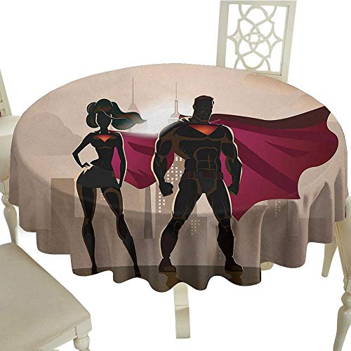 Superhero Tablecloth on Round Table D 54