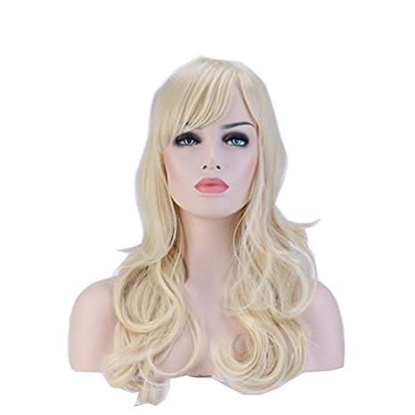 Pelucas Sintéticas Largas Rizadas Pelo Se Ve Natural Peluca Resistente al  Calor para Mujer Cosplay Disfraz b21260a593e5