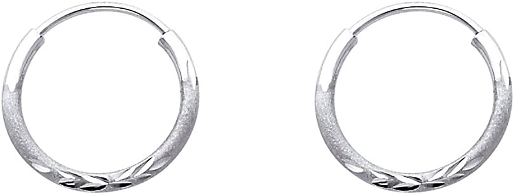 925 Sterling Silver Polished /& Antique Finish Round Hoop Earrings 1.5mm x 17mm