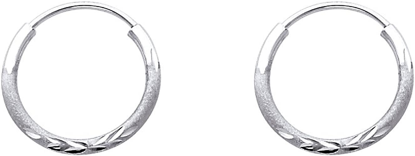 14K White Gold 1.5mm Thick Diamond Cut Satin Endless Small Hoop Earrings 20mm