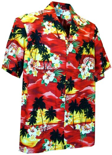 Pacific Legend Sunset Beach Palm Tree Hawaiian Shirt (M, Red)