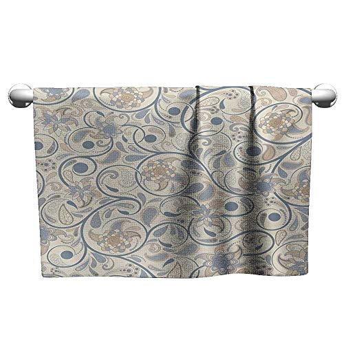 (alisoso Vintage,Kids Bath Towels Oriental Scroll with Swirling Leaves with Eastern Design Inspirations Quick-Dry Towels Beige Tan Slate Blue W 28