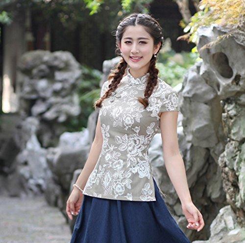 YueLian Mujeres Verano Diario Modificado Manga Corta Talla 36-44 Traje Chino Blusa China Top Gris (L): Amazon.es: Ropa y accesorios