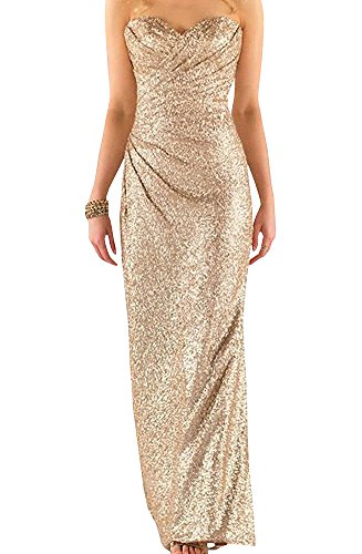 Ever Girl Women's Sweetheart Sequins Long Bridesmaid Dresses Prom Dresses Wedding Party Gown Champagne US4