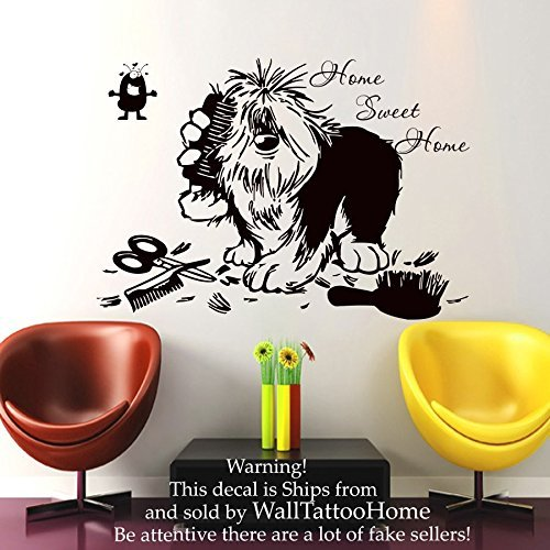 Price comparison product image Wall Decals Home Swit Home Quote Decal Vinyl Sticker Dog Flea Scissors Comb Petshop Grooming Salon Home Decor Art Mural US13