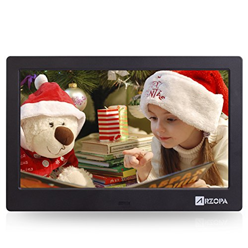 - Arzopa Digital Photo Frame10-inch IPS Screen Widescreen HD 16:9 Digital Photo Frame Support MP3 MP4 Video Player Calendar Random Playback Mode with Remote Control Black (Upgrade Edition)