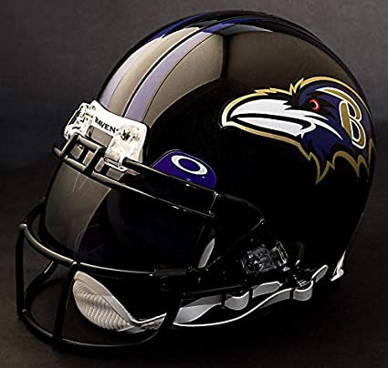 a63d74eaa Image Unavailable. Image not available for. Color  Riddell Baltimore Ravens NFL  Authentic Gameday Football Helmet with Dark-Tint Eye Shield Visor