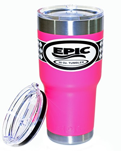 EPIC Pink Tumbler Stainless Steel Vacuum Insulated Powder Coated Cup and Thermal Coffee Mug with 2 BPA Free Lids, 30 oz - Pink Tumbler