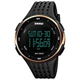 Digital Watches For Men Women's Watch Skmei Watreproof Chronograph Black Band Sports Ladies Watches (rose gold)