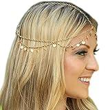Grecian Gold Draping Disc Coin Hair Crown Chain Flapper Head Dress Piece Band Adjustable