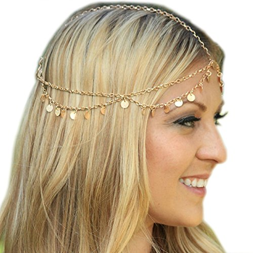 Grecian Gold Draping Disc Coin Hair Crown Chain Flapper Head Dress Piece Band Adjustable