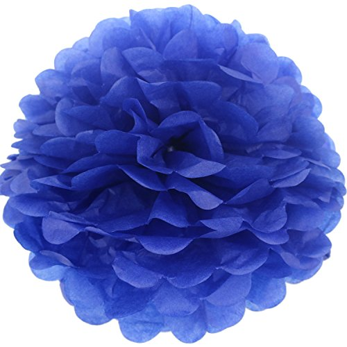 Summer Wedding Centerpiece (Lightingsky 10pcs DIY Decorative Tissue Paper Pom-poms Flowers Ball Perfect for Party Wedding Home Outdoor Decoration (14-inch Diameter, Blue 3))