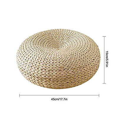 YA-TUBE Hand Knitted Cable Style Pouf Tatami Floor Pillow Sitting Cushion,Round Padded Room Floor Straw Mat for Outdoor Seat