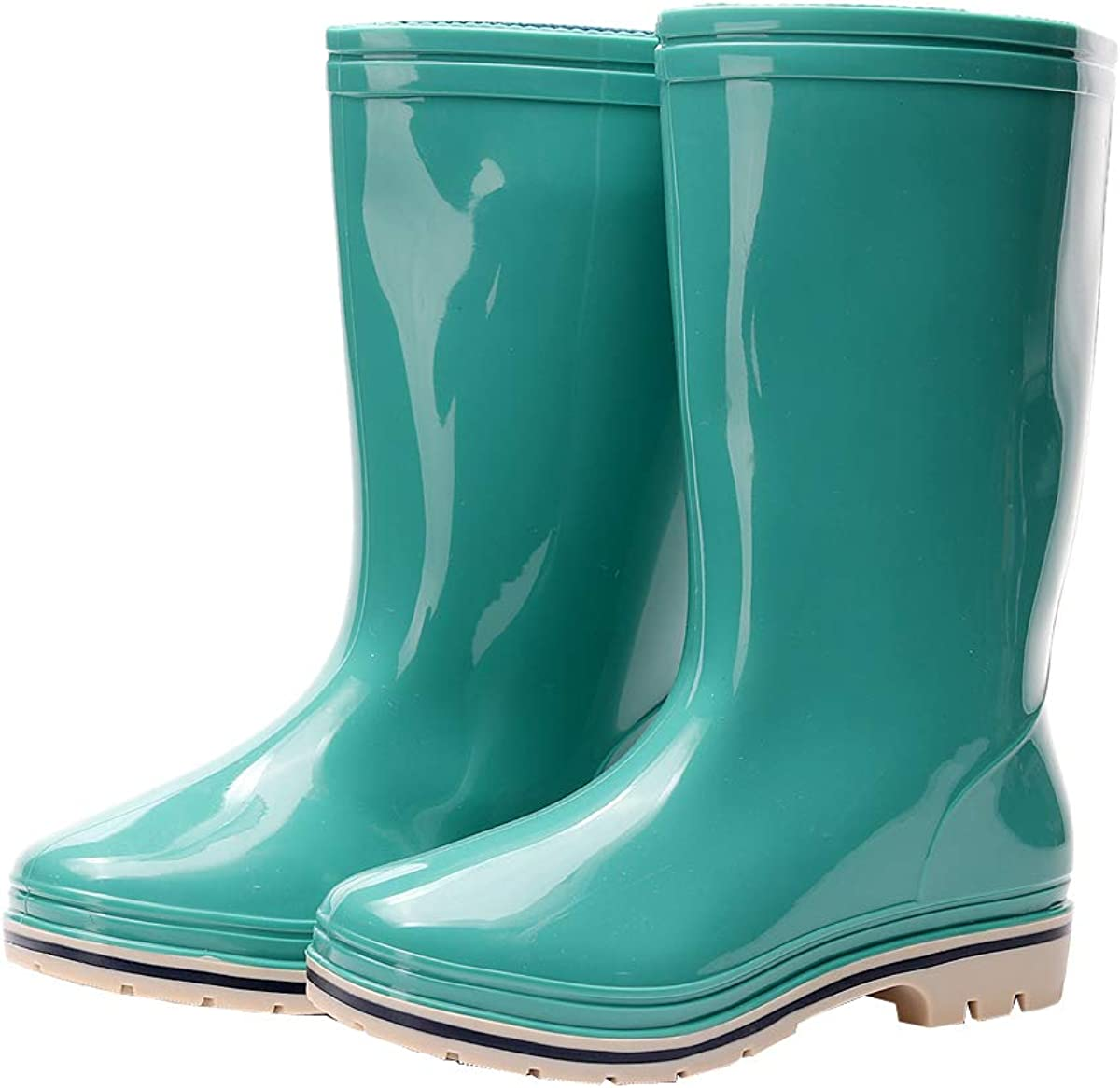 Kontai Womens Rain and Garden Boot Wellies Half Calf Rubber Waterproof for Garden Women rain Footwear