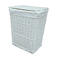 Arpan Large White Wicker Laundry Basket With White Lining