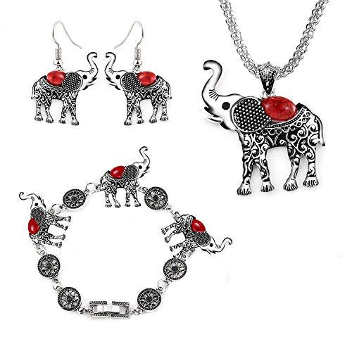 Miraculous Garden Womens Vintage Silver Ethnic Tribal Elephant Boho Pendant Necklace Drop Earrings Link Bracelet Jewelry Sets (Red)