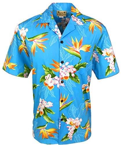 Tropical Luau Beach Cotton Print Men's Hawaiian Aloha Shirt (3X-Large, Floral Bird of Paradise Blue)