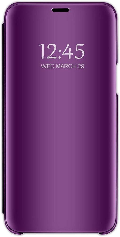 Beryerbi Funda Xiaomi Redmi 5,Carcasa Xiaomi Redmi 5 Plus Espejo Mirror Flip PC Hard Case Ultra Delgada Anti-Scratch Protector Cover Soporte Plegable Caso Duro para Redmi 5/5+