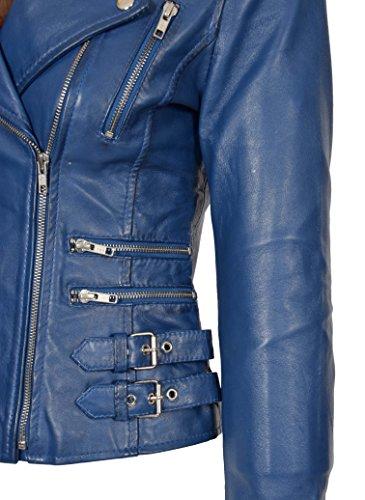 Biker Gama Para En Estilo Entallado Azul Cuero Moda Chaqueta Abrigo Colores Niñas Una Mujer Rubí De CxBTw7q