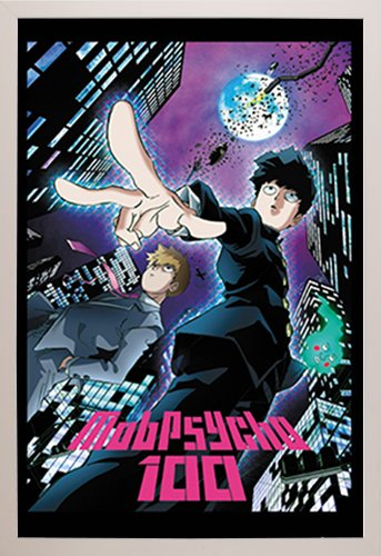 Mob Psycho 100 City Poster in a White Plastic Frame  29295-P