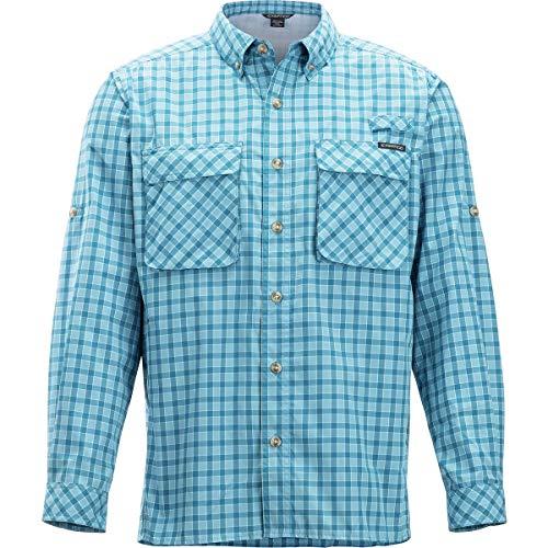 ExOfficio Men's Air Strip Gingham Long Sleeve Button Down Shirts, Dk Aegean, -