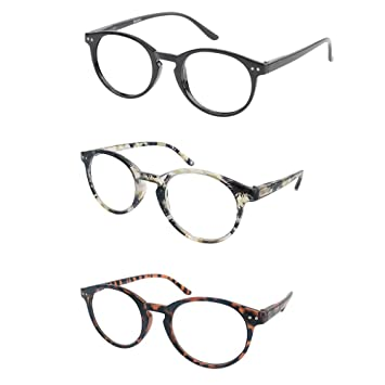 e7bbdd8d663 Image Unavailable. Image not available for. Color  Reading Glasses 3 Pairs  Stylish Round Readers for Men Women with Spring Hinge Clear ...