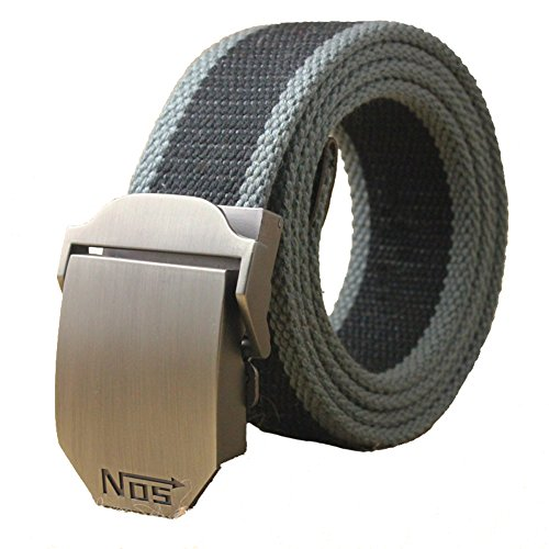Canvas Web Belt Military Style with Antique Silver Buckle and Tip 51