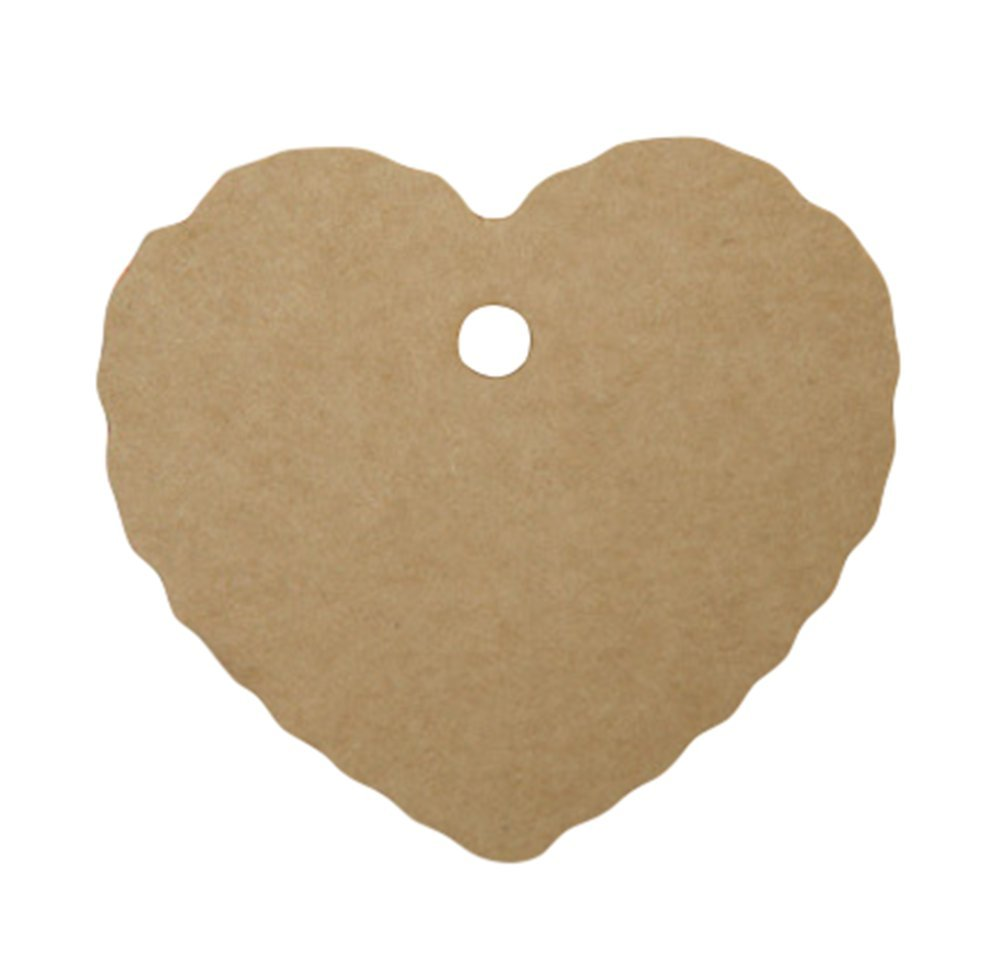 JUNGEN Kraft Paper Tags in Heart Pattern Small 6.5x5cm (Black)
