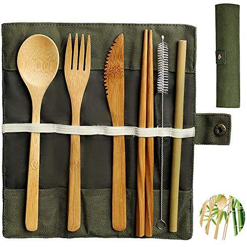 Bambus Besteck Set | Reisebesteck | Umweltfreundliches Besteck Bambus Mehrweg, Messer Gabel Löffel Stäbchen Strohhalme Und Bürst 20cm