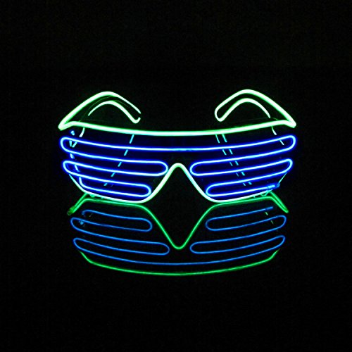 [Aquat Voice Activated Light-up Illuminated Neon Electroluminescent El Wire LED Glasses Light Costumes Glasses (Light Green/Blue, Black] (Group Office Costumes)