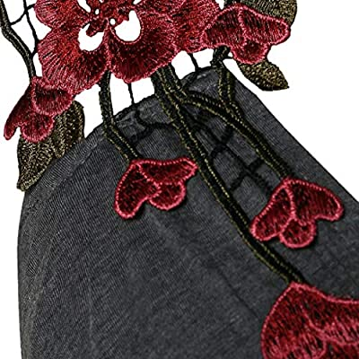 Sinfu Women's Fashion Flower Embroidered Camisole V-Neck Cross Pleated T-Shirt Top: Clothing