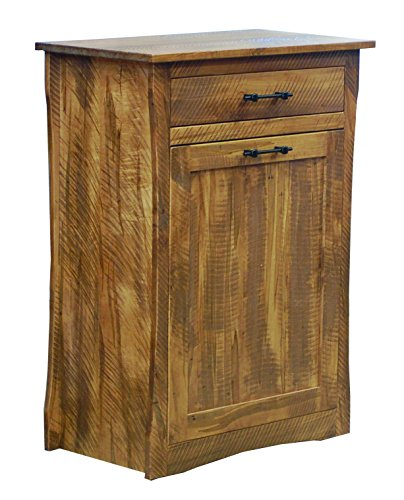 Large Rough Sawn Maple Tilt Out Trash/Recycling Bin with Storage Drawer ()