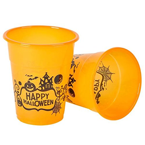 Halloween Orange and Black Pumpkin Print Plastic Disposable Tableware Party Cups in Bulk Pack of 50, 12 ounce -