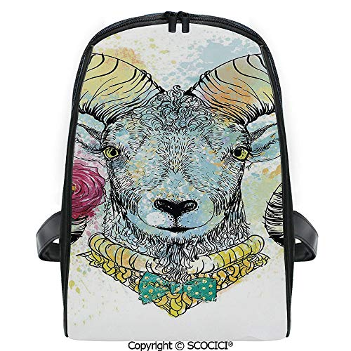 SCOCICI Casual Stylish Backpack Ram with Horns and Blossoming Spring Flowers Bow Tie Dapper Fashion Art Decorative 2019 Deals! One Size