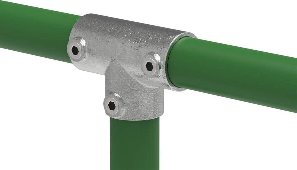 Fenau | Conector en T/pieza en T, empalme de tubo, largo, 90°, Ø 33,7 mm, de fundición maleable, galvanizado en caliente, incl. tornillos