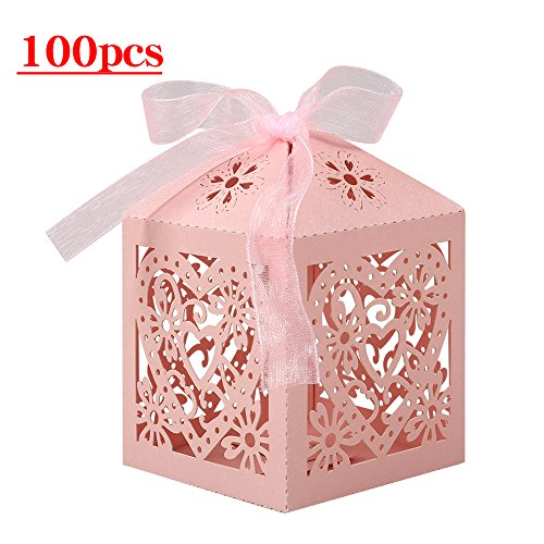 - Lucky Monet 25/50/100PCS Love Heart Laser Cut Wedding Candy Gift Box Chocolate Box for Wedding Favor Birthday Party Bridal Shower with Ribbon (100pcs, Pink)