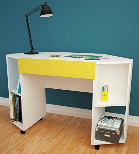 Taxi 331838 Mobile Corner Desk from Nexera, White and Yellow by Nexera